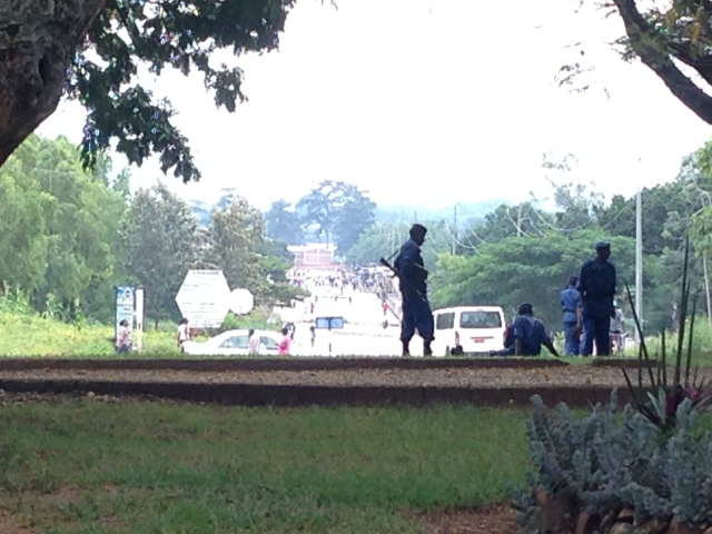 Since Saturday 25 April there are police at each street corner of Bujumbura and roadblocks at each entry point to the city center. Photo: Mimmi Söderberg Kovacs